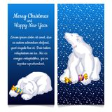 Dual vertical card with snow bear with sweet candy. Sketch for greeting card, festive poster or party invitation with. Space for your text. The attributes of Royalty Free Stock Photo