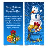 Dual vertical card with snowman with bag of gifts. Sketch for greeting card, festive poster or party invitations with. Space for your text. The attributes of Royalty Free Stock Photos