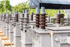 CSP type transformers. Dual voltage system 12000/24000 V three phase CSP completely self protected type oil immersed transformers Royalty Free Stock Photo