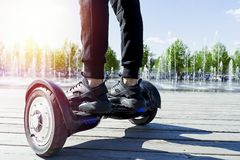 Dual Wheel Self Balancing Electric Skateboard. Electrical Scooter Outdoors Stock Photos