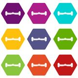 Dual wheel self balancing electric skateboard icon set color hexahedron Stock Images