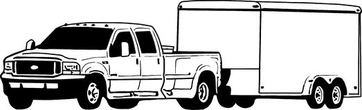 Dually Pickup truck and enclosed trailer illustration stock images