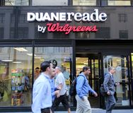 DUANE READE/ WALGREENS PHARAMACY. NEW YORK CITY - SEPT. 10, 2014: A Duane Reade pharmacy in New York City on September 10, 2014. Duane Reade is a division of Royalty Free Stock Images