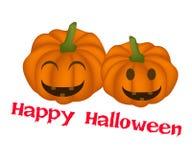 Duas abóboras da Jack-o-lanterna com palavra Dia das Bruxas feliz Fotografia de Stock Royalty Free