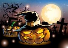 Duas abóboras de Dia das Bruxas na Lua cheia da noite Imagens de Stock Royalty Free
