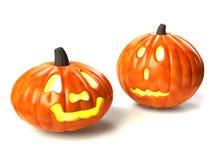 Duas abóboras de Halloween Foto de Stock