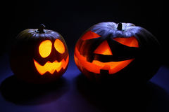 Duas abóboras de Halloween Foto de Stock Royalty Free