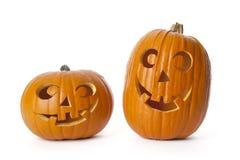 Duas abóboras de Halloween no fundo branco Imagem de Stock Royalty Free