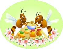 Duas abelhas engraçadas Imagens de Stock