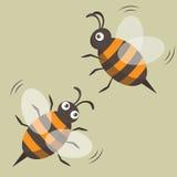 Duas abelhas isoladas Retrato do vetor Estilo dos desenhos animados Fotografia de Stock Royalty Free