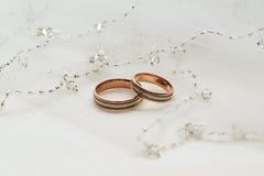 Duas alianças de casamento Foto de Stock Royalty Free