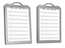 Duas almofadas de escrita em branco alinhadas brancas isoladas no whi Foto de Stock Royalty Free