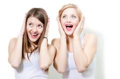 Duas amigas bonitas das mulheres surpreendidas Fotos de Stock