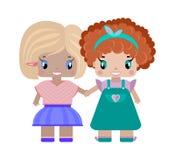 duas amigas das meninas que guardam as mãos ilustração royalty free