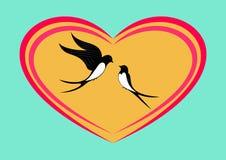 Duas andorinhas enamorado ilustração do vetor