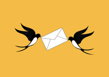Duas andorinhas entregam o correio ilustração royalty free