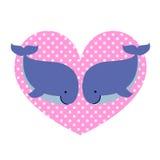 Duas baleias no amor e no coração pontilhado grande Imagem de Stock