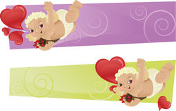 Duas bandeiras com cupids/cherubs e cherubs Fotografia de Stock Royalty Free