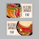 Duas bandeiras com sanduíches ilustração royalty free