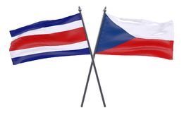 Duas bandeiras cruzadas foto de stock