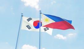 Duas bandeiras de ondulação fotografia de stock royalty free