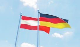 Duas bandeiras de ondulação foto de stock royalty free