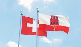 Duas bandeiras de ondulação fotos de stock royalty free