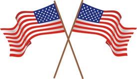 Duas bandeiras dos EUA Fotos de Stock Royalty Free