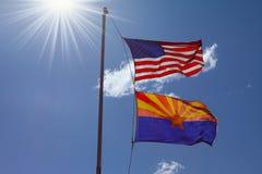 Duas bandeiras em um mastro Imagem de Stock Royalty Free