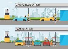 Duas bandeiras horizontais com estação de carregamento e gasolina e oi Imagem de Stock