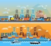 Duas bandeiras horizontais do porto do frete ilustração do vetor