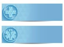 Duas bandeiras médicas azuis Fotografia de Stock Royalty Free
