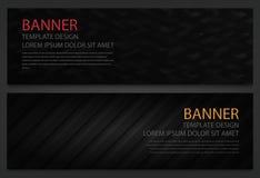 Duas bandeiras pretas abstratas Molde do projeto de negócio Molde do Web site Bandeiras horizontais ajustadas Vetor Fotos de Stock