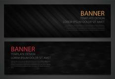 Duas bandeiras pretas abstratas Molde do projeto de negócio Molde do Web site Bandeiras horizontais ajustadas Vetor Fotos de Stock Royalty Free