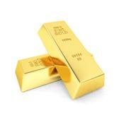 Duas barras de ouro fotografia de stock