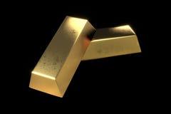 Duas barras de ouro no fundo preto isolado Imagens de Stock