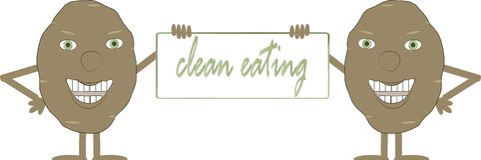 Duas batatas marrons de sorriso com uma placa, comer limpo da inscrição, mãos, pés, olhos verdes, fundo branco Imagem de Stock Royalty Free
