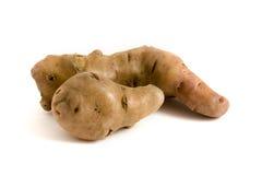 Duas batatas misshapen sobre o branco Imagem de Stock Royalty Free
