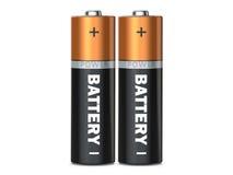 Duas baterias em um fundo branco no branco, rende 3D Foto de Stock Royalty Free