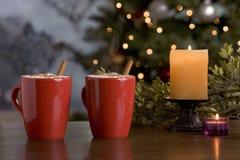 Duas bebidas mornas do feriado pela árvore. Fotos de Stock Royalty Free