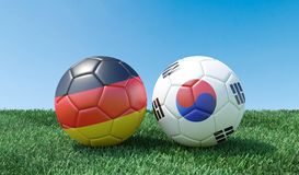 Duas bolas de futebol em cores das bandeiras ilustração stock