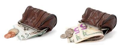 Duas bolsas com dólares e euro Imagens de Stock