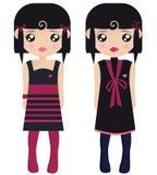 Duas bonecas de papel fêmeas de cabelo pretas ilustração do vetor