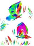 Duas borboletas brilhantemente coloridas que voam sobre o prado ilustração royalty free