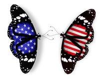Duas borboletas da bandeira americana Imagem de Stock Royalty Free