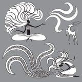 Duas bruxas e cabras Imagem de Stock