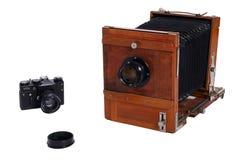 Duas câmeras da foto do vintage Fotografia de Stock