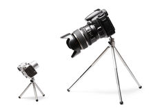 Duas câmeras grandes e pequenas Imagens de Stock