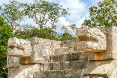 Duas cabeças da serpente em Chichen Itza Imagem de Stock