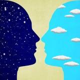 Duas cabeças humanas noite e ilustração digital do conceito do dia Imagens de Stock Royalty Free